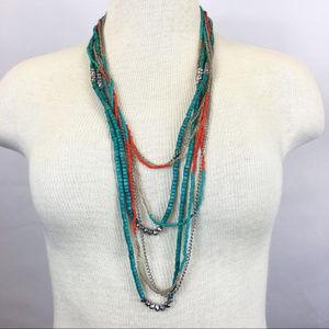 Jewelry - Multi-strand turquoise & orange chain necklace